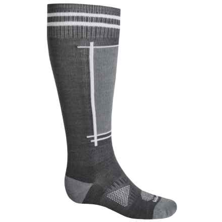 Le Bent Definitive Light Ski Socks - Rayon-Merino Wool, Over the Calf (For Men and Women) in Grey/White - Closeouts
