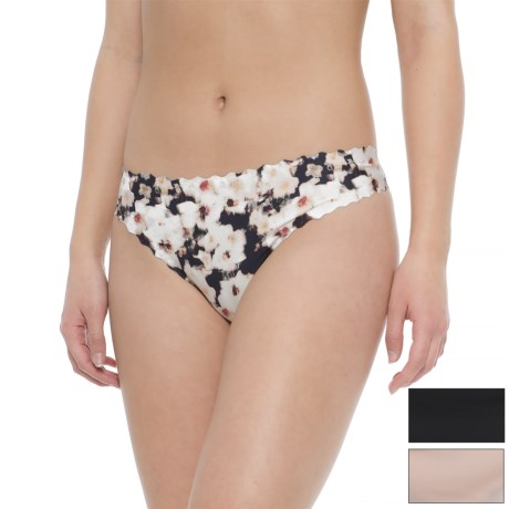 Le Body Scalloped Seamless Panties - 3-Pack, Thong (For Women) in Petal Print In Peach