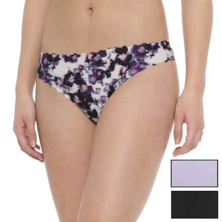 Le Body Scalloped Seamless Panties - 3-Pack, Thong (For Women) in Petal Print In Purple Night - Closeouts