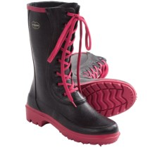 Le Chameau Saiga Lace-Up Rain Boots - Waterproof (For Women) in Black/Pink - 2nds