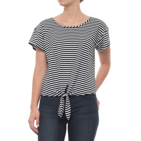 Lea Vansickle Scoop Striped Shirt - Short Sleeve (For Women) in White/Black