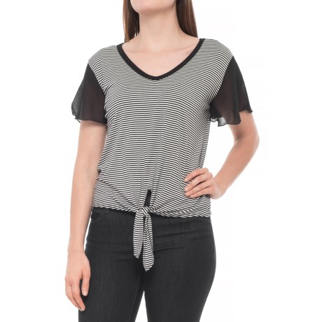 Lea Vansickle V-Neck Mixed Media Shirt - Short Sleeve (For Women) in Off White/Black