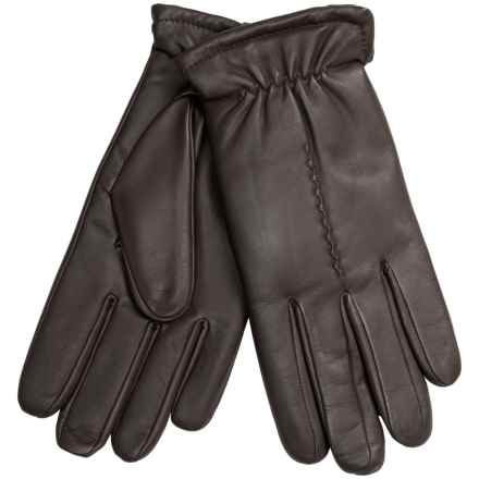Leather Gloves with Gathered Cuffs - Plush Lining (For Men) in Brown - 2nds