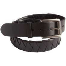 Leather Island by Bill Lavin Basket Weave Belt - Braided Leather (For Men) in Black - Closeouts