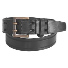 Leather Island by Bill Lavin Double Prong Buckle Belt - Leather (For Men) in Black - Closeouts