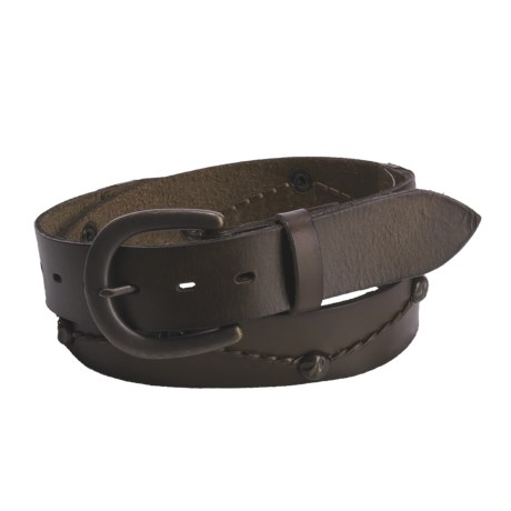 Leather Island by Bill Lavin Ornamented Leather Belt (For Men and Women) in Brown