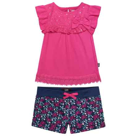 Lee Bow Shirt and Shorts Set - (For Toddler Girls) in Navy - Closeouts