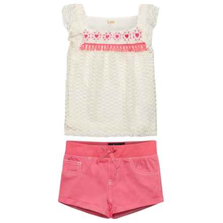 Lee Butterfly Shirt and Shorts Set (For Little Girls) in Pink - Closeouts