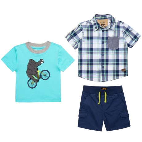 Lee Button-Up Shirt, Graphic T-Shirt and Denim Shorts Set (For Infants) in Navy