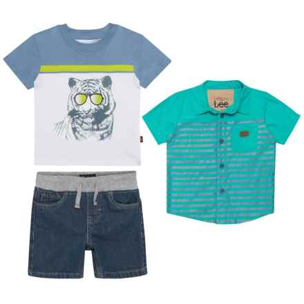 Lee Button-Up Shirt, Graphic T-Shirt and Denim Shorts Set (For Infants) in Turquoise - Closeouts