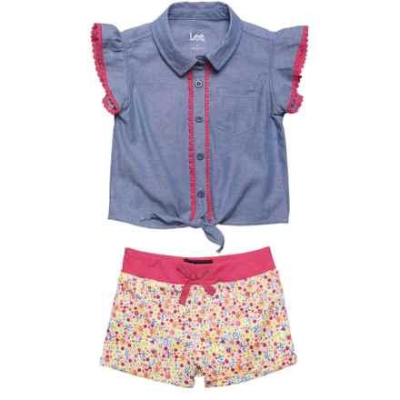 Lee Chambray Shirt and Shorts Set - (For Toddler Girls) in Indigo Chambray - Closeouts