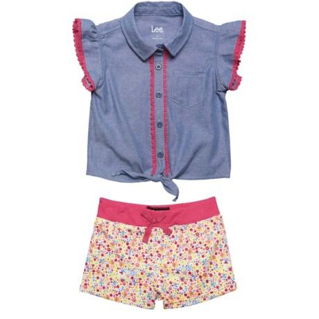 Lee Chambray Shirt and Shorts Set - (For Toddler Girls) in Indigo Chambray
