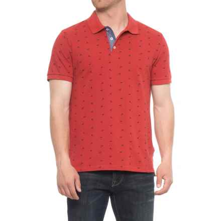 Lee Dundee Ditsy Print Pique Polo Shirt - Short (For Men) in Lava - Overstock