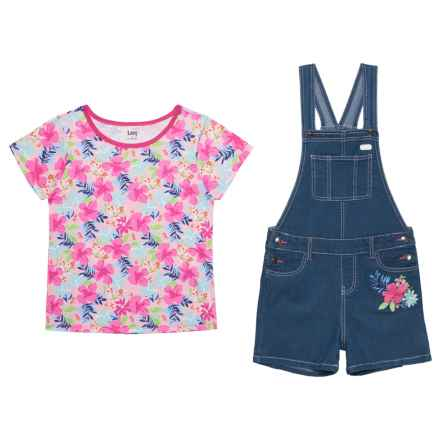 Lee Floral Short Overalls and Shirt Set - Short Sleeve (For Big Girls) in Used Blue - Closeouts