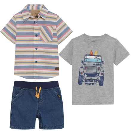 Lee Heathered Button-Up Shirt, Graphic T-Shirt and Denim Shorts Set (For Infants) in Gray Heather - Closeouts