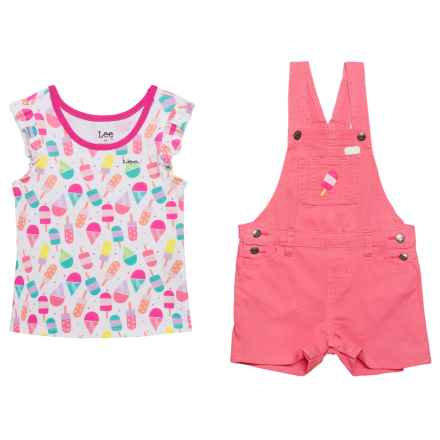 Lee Ice Cream Short Overalls and Shirt Set - S/S (For Toddler Girls) in Pink - Closeouts