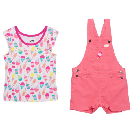 Lee Ice Cream Short Overalls and Shirt Set - S/S (For Toddler Girls) in Pink