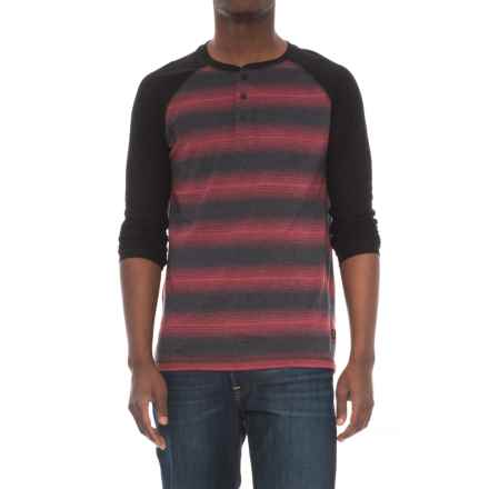 Lee Josh Striped Henley Shirt - Long Sleeve (For Men) in Black - Closeouts