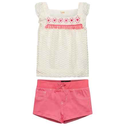 Lee Lace Shirt and Shorts Set - (For Toddler Girls) in Pink - Closeouts