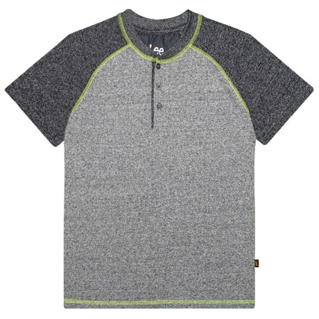 Lee Marled Henley Shirt - Short Sleeve (For Big Boys) in Charcoal