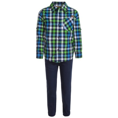 Lee Plaid Shirt and Pants Set - Short Sleeve (For Little Boys) in Navy
