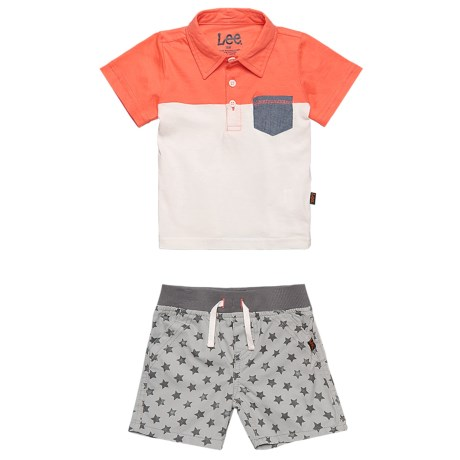 Lee Polo Shirt and Shorts Set - S/S (For Infants) in Grey