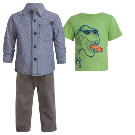 Lee Shirt and Pants Set - 3-Piece, Long and Short Sleeve (For Infants) in Smog
