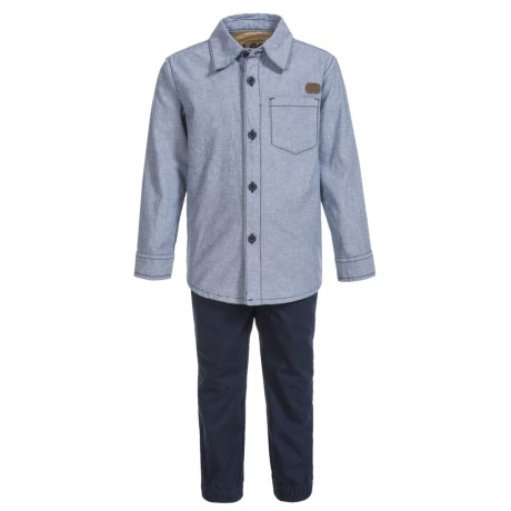 Lee Solid Woven Shirt and Pants Set - Long Sleeve (For Little Boys) in Navy