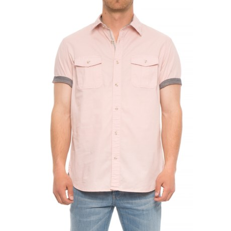 Lee Stretch Chambray Camp Shirt - Short Sleeve (For Men) in Pink