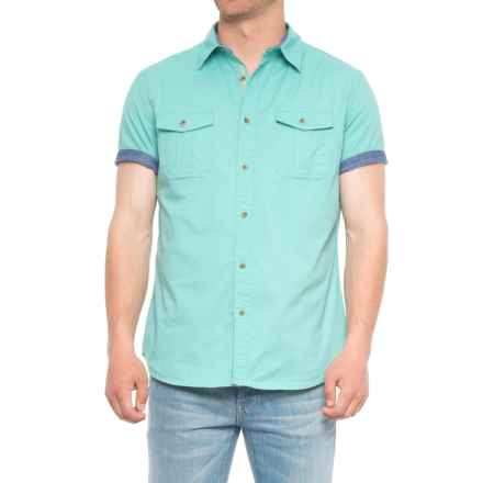 Lee Stretch Chambray Camp Shirt - Short Sleeve (For Men) in Sea Breeze - Overstock