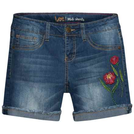 Lee Wild Flower Embroidered Jean Shorts (For Big Girls) in Blue Bell - Closeouts