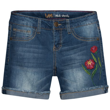 Lee Wild Flower Embroidered Jean Shorts (For Big Girls) in Blue Bell