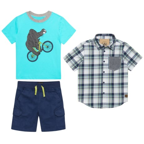 Lee Woven Shirt, T-Shirt and Shorts Set -(For Little Boys) in Navy