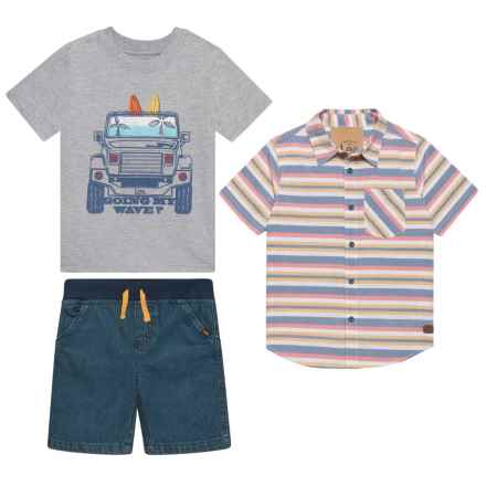 Lee Woven Shirt, T-Shirt and Shorts Set - Short Sleeve (For Little Boys) in Grey Heather - Closeouts
