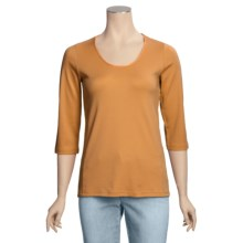 Left Coast Tee Scoop Neck Shirt - Pima Cotton, 3/4 Sleeve (For Women) in Orange - Closeouts