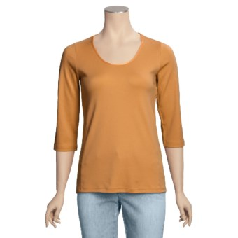Left Coast Tee Scoop Neck Shirt - Pima Cotton, 3/4 Sleeve (For Women) in Orange