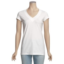 Left Coast Tee Stretch Trim Fit V-Neck Shirt - Pima Cotton, Short Sleeve (For Women) in White - Closeouts