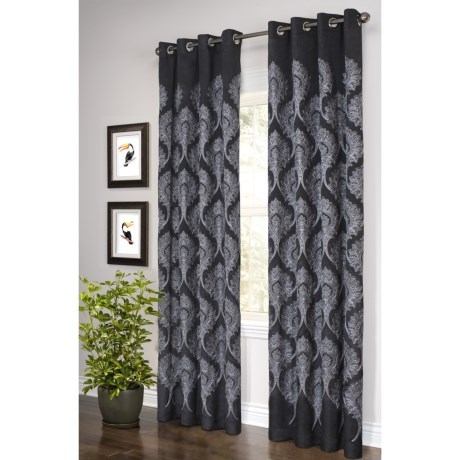 "Legacy Cashmere Embroidered Curtains - 100x84"", Grommet-Top in Black W/White Embroidery"