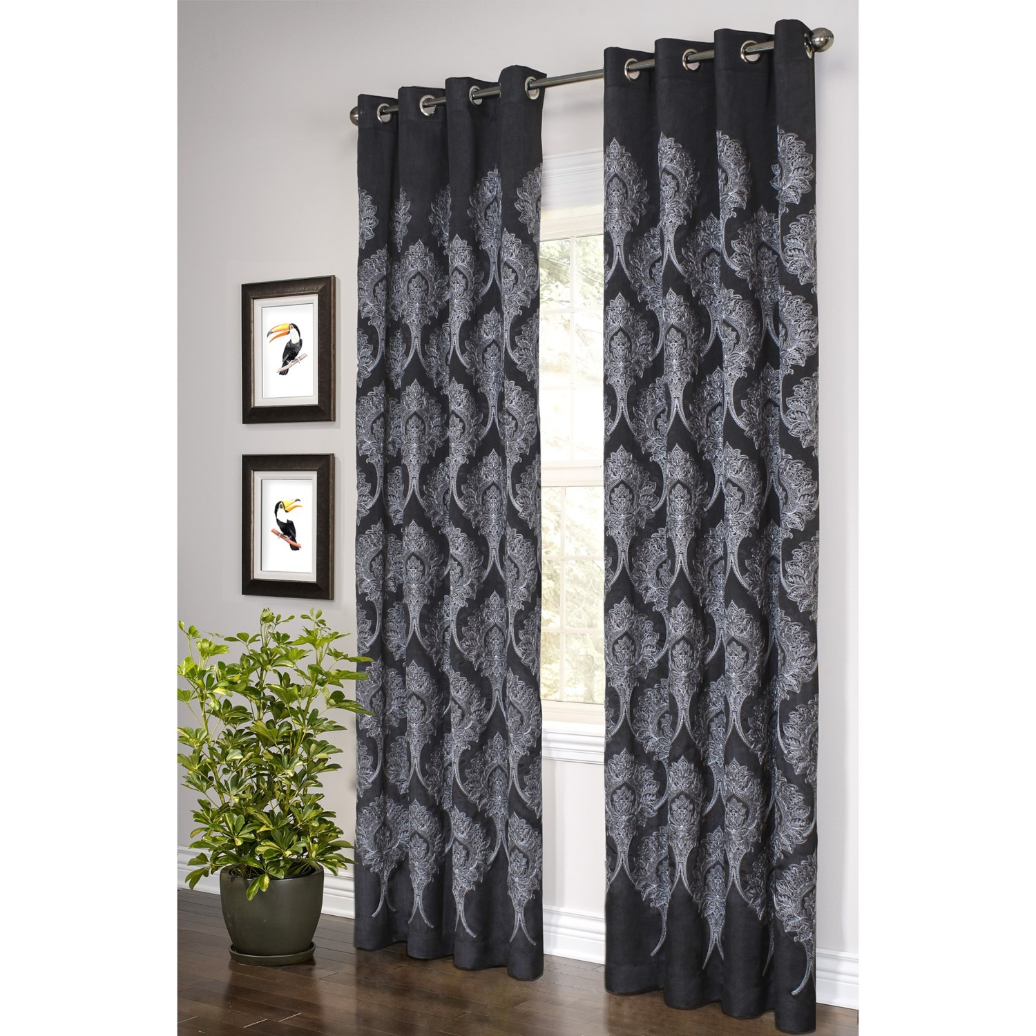 Bedroom Curtain Ideas Black Embroidered Curtains 95 Grommet Top In Black W  White Embroidery Black. Black and white striped curtains walmart