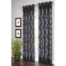 "Legacy Cashmere Embroidered Curtains - 95"", Grommet-Top in Black W/White Embroidery - Closeouts"