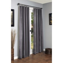 "Legacy Faux-Suede Curtains - 104x95"", Ring-Top in Pewter - Closeouts"