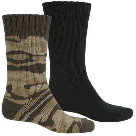 Legale Camo Cabin Slipper Socks - 2-Pack, Crew (For Men) in Green Camo/Black - Closeouts