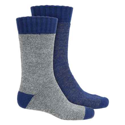 Legale Mid Cabin Slipper Socks - 2-Pack, Crew (For Men) in Hunter Marl/Blue Marl - Closeouts