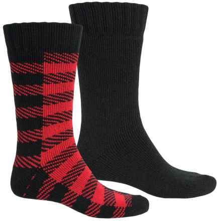 Legale Mid Cabin Slipper Socks - 2-Pack, Crew (For Men) in Red Buffalo Check/Black - Closeouts