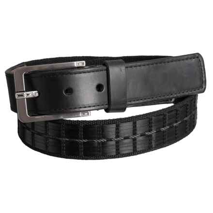 Lejon Basket Stitch Leather Belt with Rectangle Buckle (For Men) in Black - Closeouts