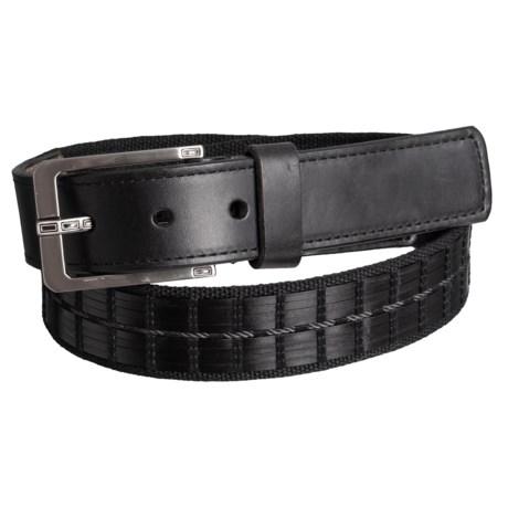 Lejon Basket Stitch Leather Belt with Rectangle Buckle (For Men) in Black