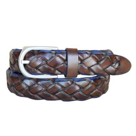 Lejon Braided Saddle Italian Leather Belt (For Men) in Brown - Closeouts