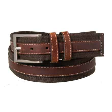 Lejon Canvas & Leather Belt - Double Loop (For Men) in Brown - Closeouts