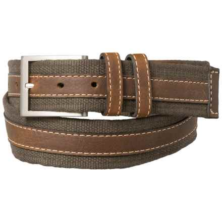 Lejon Canvas & Leather Belt - Double Loop (For Men) in Green - Closeouts