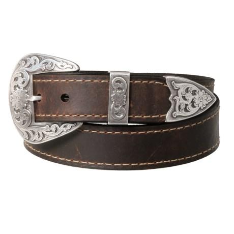 Lejon Edge-Stitched Bison Leather Belt (For Men) in Dark Saddle